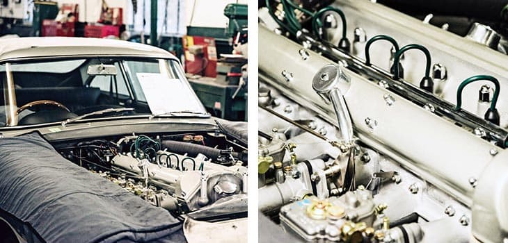 Inside engine shot of Aston Martin DB5 being converted to a DB5 Vantage