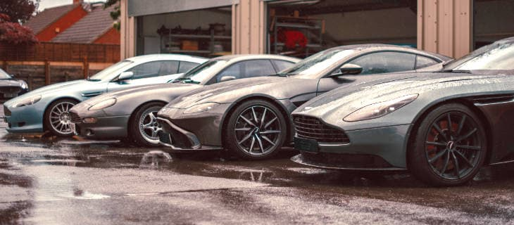 Line Up of Modern Aston Martin cars